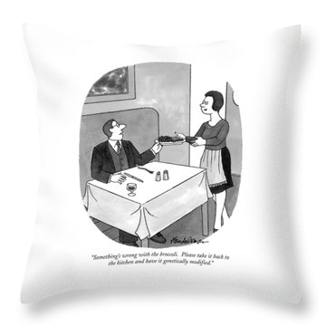 Something's Wrong With The Broccoli.  Please Take Throw Pillow by J.B. Handelsman