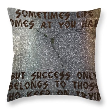 Throw Pillow featuring the digital art Sometimes Life Comes At You Hard by Absinthe Art By Michelle LeAnn Scott