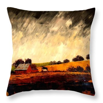 Throw Pillow featuring the painting Somewhere Else by William Renzulli
