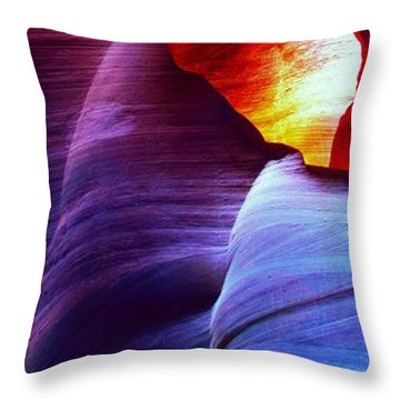Throw Pillow featuring the photograph Somewhere In America Series - Blue In Antelope Canyon by Lilia D