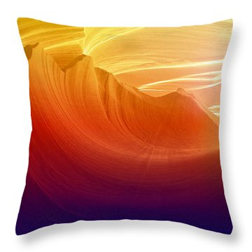 Throw Pillow featuring the photograph Somewhere In America Series - Colorful Light In Antelope Canyon by Lilia D