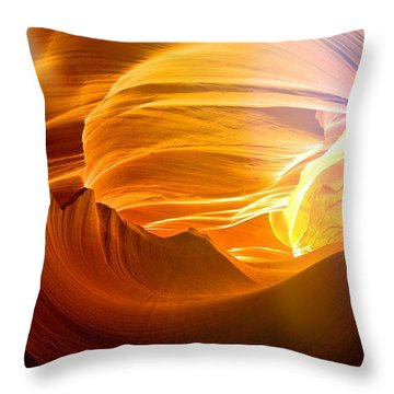 Throw Pillow featuring the photograph Somewhere In America Series - Gold Colors In Antelope Canyon by Lilia D