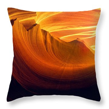 Throw Pillow featuring the photograph Somewhere In America Series - Golden Yellow Light In Antelope Canyon by Lilia D