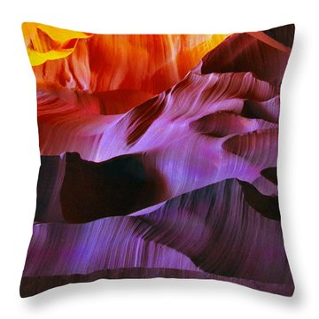 Throw Pillow featuring the photograph Somewhere In America Series - Transition Of The Colors In Antelope Canyon by Lilia D