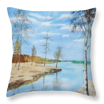 Throw Pillow featuring the painting Somewhere In Dalarna by Martin Howard