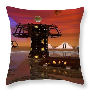 Throw Pillow featuring the digital art Somewhere In Space by Jacqueline Lloyd