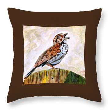 Throw Pillow featuring the painting Song Sparrow by Angela Davies