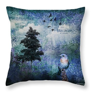 Songbird Throw Pillow by Lianne Schneider
