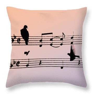 Songbirds Throw Pillow by Bill Cannon