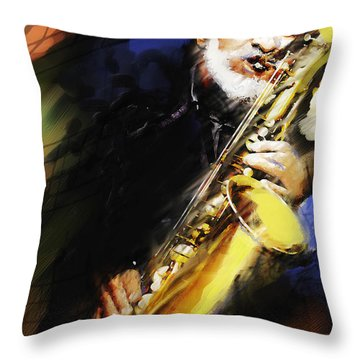 Sonny Rollins Groovin' The Sax Throw Pillow