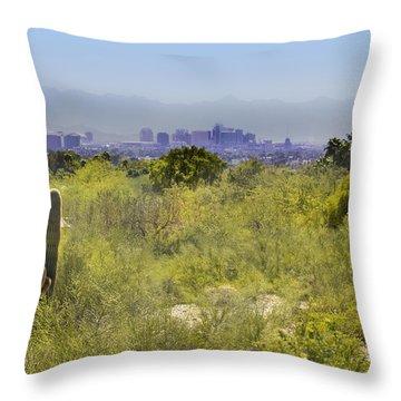 Sonoran Desert With Phoenix Skyline Throw Pillow