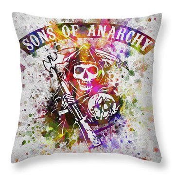 Sons Of Anarchy In Color Throw Pillow by Aged Pixel