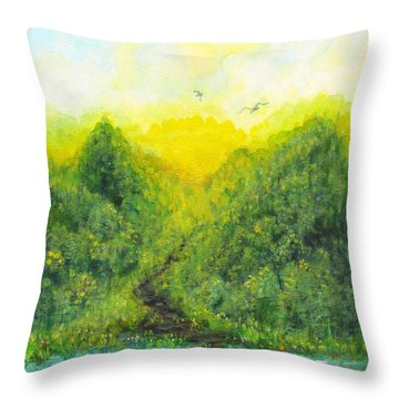 Throw Pillow featuring the painting Sonsoshone by Holly Carmichael