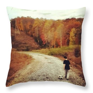 Autumn Hiking Throw Pillow by Lander Lowe