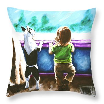 Waiting For Daddy Throw Pillow by Jackie Carpenter