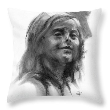 Throw Pillow featuring the drawing Sophie by Paul Davenport