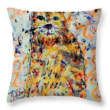 Sophisticated Cat 3 Throw Pillow by Natalie Holland