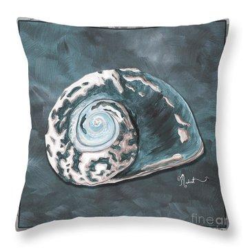 Sophisticated Coastal Art Original Sea Shell Painting Beachy Sea Snail By Megan Duncanson Of Madart Throw Pillow by Megan Duncanson