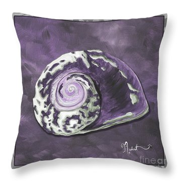 Sophisticated Coastal Art Original Sea Shell Painting Purple Royal Sea Snail By Madart Throw Pillow by Megan Duncanson