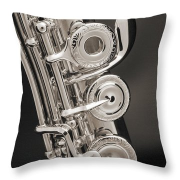 Soprano Flute Music Instruments Photo In Sepia  3441.01 Throw Pillow