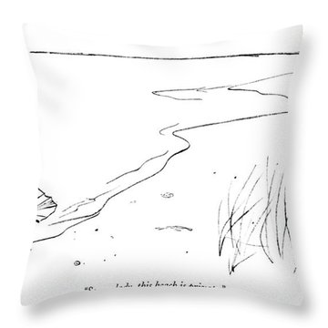 Sorry, Lady, This Beach Is Private Throw Pillow