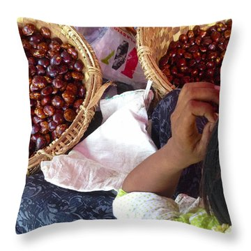 Throw Pillow featuring the photograph Sorting Water Chestnuts Zay Cho Street Market 29th Street Mandalay Burma by Ralph A  Ledergerber-Photography