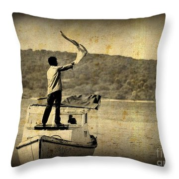 Sos   Need Gas To Get To Shore Throw Pillow by John Malone