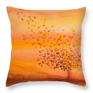 Soul Freedom Watercolor Painting Throw Pillow