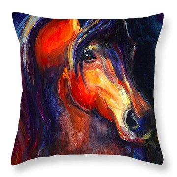 Soulful Horse Painting Throw Pillow