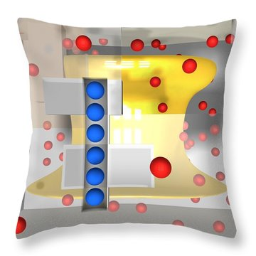 Sounds Reds And Line Of Blue Balls Throw Pillow