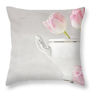 Soup Of Tulips Throw Pillow by Claudia Moeckel