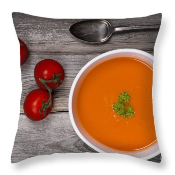 Soup On Wood Table Throw Pillow