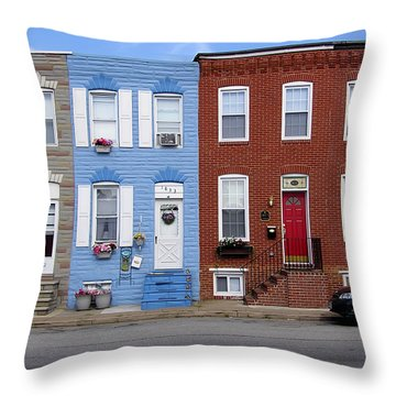 Throw Pillow featuring the photograph South Baltimore Row Homes by Brian Wallace