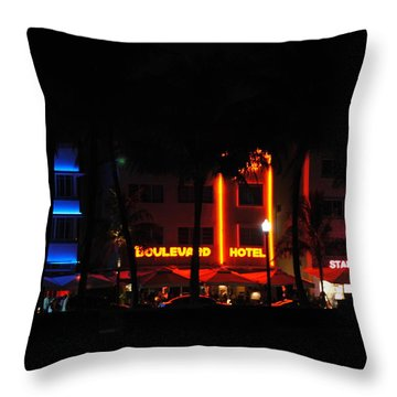 South Beach Hotels Throw Pillow