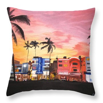 South Beach Ocean Drive Throw Pillow by Kevin F Heuman