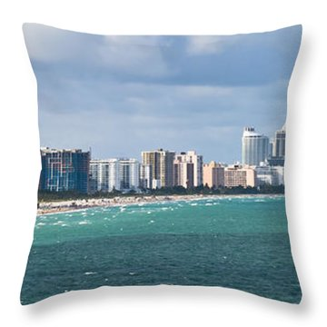 South Beach On A Summer Day Throw Pillow