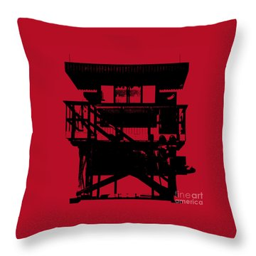 Throw Pillow featuring the digital art South Beach Lifeguard Stand by Jean luc Comperat