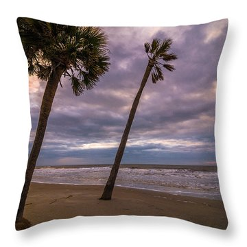 South Carolina Palmetto Trees Throw Pillow by Serge Skiba