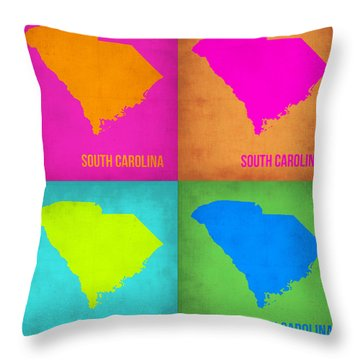 South Carolina Pop Art Map 1 Throw Pillow