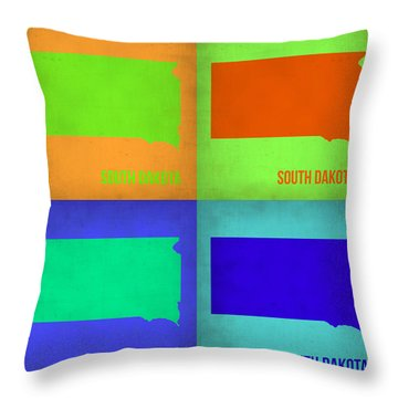 South Dakota Pop Art Map 1 Throw Pillow by Naxart Studio