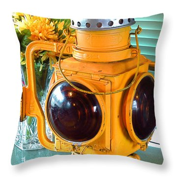 South Florida Museum Of History. Ft. Myers Florida. Old Train Lantern.  Throw Pillow