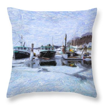 Throw Pillow featuring the photograph South Freeport Harbor II by Tom Singleton