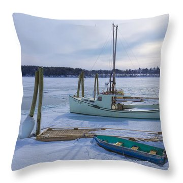 Throw Pillow featuring the photograph South Freeport Harbor by Tom Singleton