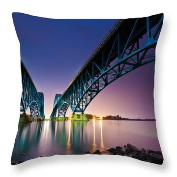 South Grand Island Bridge Throw Pillow by Mihai Andritoiu