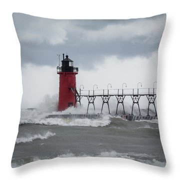 South Haven Pier Light In A Storm Throw Pillow