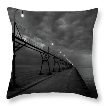 South Haven Pier Throw Pillow