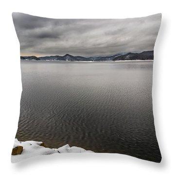 South Holston Snow Throw Pillow