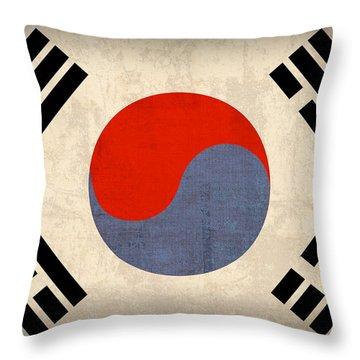 South Korea Flag Vintage Distressed Finish Throw Pillow