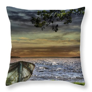 South Manistique Lake With Rowboat Throw Pillow
