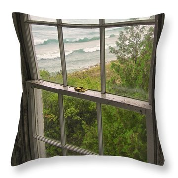 South Manitou Island Lighthouse Window Throw Pillow